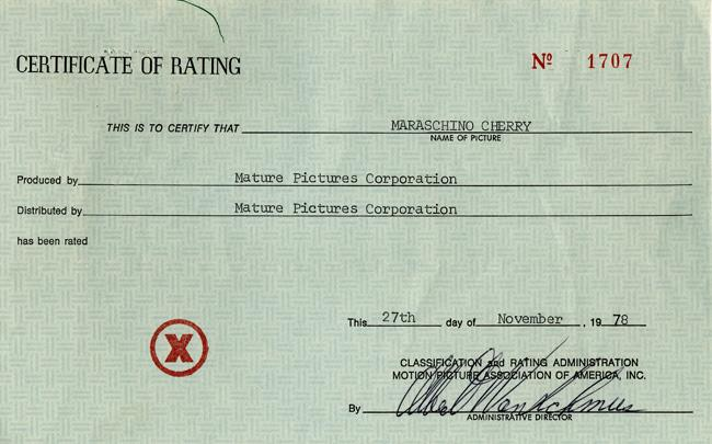 Certificate of Rating for 'Marascino Cherry'