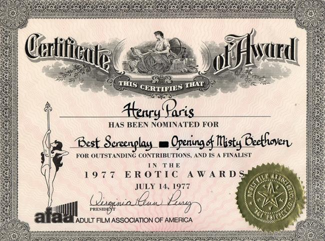 AFAA Award Certificate for Henry Paris, and The Opening of Misty Beethoven
