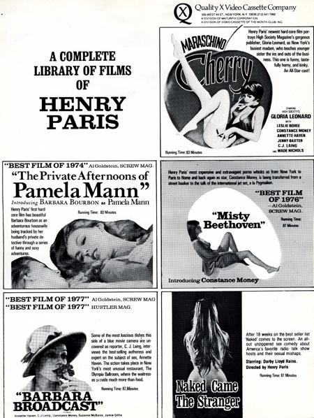Original Qualtiy X ad- press sheet for the Henry Paris films